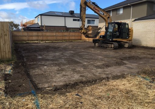 Site cut on a small block in a new suburb of Melbourne