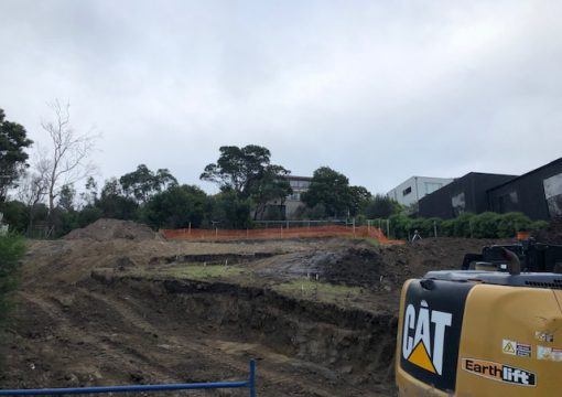 Site excavation with soil removal