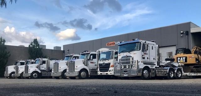 Kenworth trucks lined up